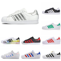 ADIDAS Taille 36-45 Original Superstar Blanc Hologramme Iridescent Junior Superstars Chaussures Décontractées Super Star Femmes Hommes Femmes En Cuir Chaussure De Mode