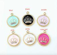 100pcs tono Oro 17 * 20mm encantos Corona esmalte gota del aceite de joyería y accesorios de cristal Corona de joyería apta DIY pulsera de moda