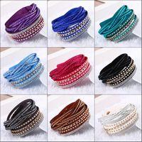 Новая мода 10 цветов искусственная кожа Wrap браслет манжеты панк горный хрусталь браслет Кристалл браслет Шарм браслеты для женщин