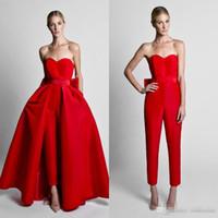Krikor Jabotian Red Jumpsuits vestidos de noche con falda desmontable cariño satén sin tirantes vestido de invitado vestidos de baile