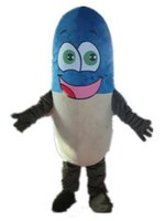 2018 Discount factory sale a blue and beige medicine mascot costume for adult to wear