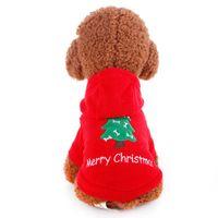 Red Pet roupas para cachorros cão Macacão Natal Brasão Hoodie Vestuário Jacket Costume bonito do filhote de cachorro para Puppy Cat Chihuahua Teddy Hoodie