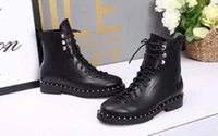 AAAAA 6555250 2cm Heel Combat Boots with Studded, Grained Cal...