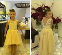 Robes de filles mignonnes de fleurs Design spécial Princesse populaire Crew Open BackHi-Low Court avant Long Back A-ligne Tulle Lace perlée demoiselle d'honneur