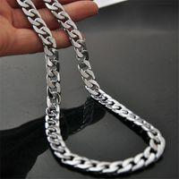 Herren Halskette Kette Edelstahl Silberfarbene Punk Großhandel Schmuck 10 mm breit 50 cm Halskette