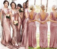 Abiti da damigella d'onore 2018 rosa rosa bling paillettes lunga cameriera di onore abiti da onore personalizzato sirena backless plus size festa di nozze abiti da sposa abiti abiti