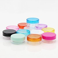 3g Mini Travel Refillable plastic cosmetic make up cream jar sample display square cream bottle Containers PS material