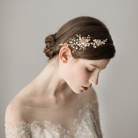 2018 новые винтажные свадебные свадебные полосы волос роскошные жемчуги из бисера золотые свадебные украшения ювелирные изделия аксессуары бесплатная доставка CPA1429