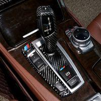 Cadre de panneau de changement de vitesse de voiture en fibre de carbone refit autocollants décorations de couverture de bouton de vitesse pour BMW Série 5 GT X3 X4 F07 F10 F25 F26