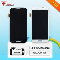 أبيض أزرق غالاكسي S4 شاشة LCD + الجمعية الزجاج المقسى اللمس لسامسونج غالاكسي S4 i9500 i9505 M919 L720 i545 R970 i337 الأصلي