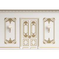Luxus Hochzeit Foto Wand Weiß Geschnitzte Goldene Windows Türen Halterung Lampen Gedruckt Vinyl Fotografie Studio Hintergrund Kulissen