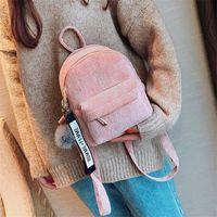 أحدث أزياء المرأة حقيبة الظهر المدرسية لطيف صغيرة للمراهقات الفراء الكرة الصلبة كودري حقيبة سفر حقائب mochila