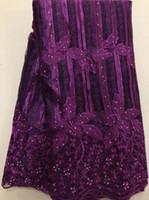 5 metrów / partia 2018 Wysokiej Jakości Nigeryjczyk Francuski Koronki Afryki Koronki Tkaniny Dla Kobiet Dress Magenta Afryka Koronki Tkaniny Hll3380