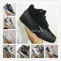 2017 scarpe economiche 3 scarpe da basket per uomo scarpe da ginnastica all'ingrosso s atletica scarpe da basket nero bianco cemento lupo grigio sport US 8-13