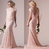 2018 new Vintage Pastels Coral Sheath Wedding Dresses with S...