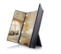 8 LED Luz Espejo de maquillaje pantalla táctil Maquillaje 3 plegable portátil encimera de mesa ajustable compone el espejo