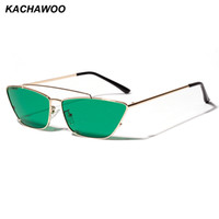 Kachawoo ladies cat eye sunglasses green lens small metal fr...