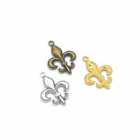 200PCS / lot incanta Fleur De Lis ciondolo in argento antico, bronzo antico, colori Oro 29 * 20mm buono per Craft