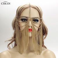 Chran oro donne sexy multi strato nappa testa catena gioielli copricapo fronte fascia chainmail maschera viso corpo gioielli CRB4139