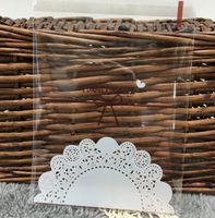 Çerez ambalaj için beyaz dantel yay kendinden yapışkanlı plastik torbalar bisküvi aperatif pişirme paketi GA13