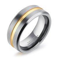 Venta caliente 8 mm de oro plata de acero de tungsteno anillos de compromiso de la venda de boda para él Comfort Fit cepillado anillo para novio aniversario regalos