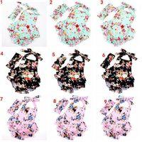 INS детские цветочные печати наряды мода ползунки устанавливает цветок ползунки лентой цветочные Onesies оголовье комбинезоны Bowknt Детская одежда Детская одежда