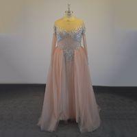 Nueva Zuhair Murad Vestidos de noche Ilusión atractiva Vestidos de baile Color de la piel Cuentas de cristal de tul Vestidos de noche formales Cremallera Volver Vestidos de desfile