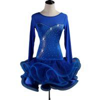تخصيص الرقص اللاتينية اللباس النساء الفتيات تانجو الصلصا مهدب اللباس D0204 خيارات الأزرق الأحمر مع الراين منفوش شير تنحنح