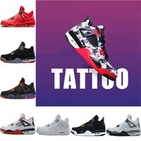Tattoo Singles Day 4 4s Mens Scarpe da basket Raptors Pure Money Royalty Nero Bianco Cement Bred Fire Red Toro Uomo Designer Sport Sneakers