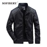 Toptan-SOFIBERY PU Deri Ceket Erkekler Katı Renk Yatak açma Yaka Casual Ceketler Moda Erkek Deri Mont QL1699