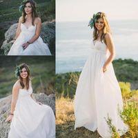 Beach abiti da sposa per donne incinte spalline Country Style Impero Abiti da sposa a buon mercato di maternità abito da sposa