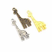300pcs 32x12mm encanto jirafa colgante, resultados de fabricación de joyas, estilo vintage jirafa colgante encantos, suministros de bricolaje - 3 colores disponibles