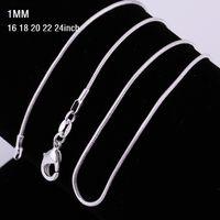 1mm 16 ~ 24 pollici in argento sterling 925 collana a catena serpente 925 collana serpente stampata per le donne monili di moda sconto economico 1pcs