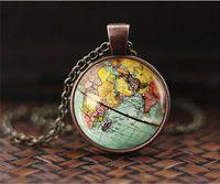 وصل جديد DIY غلوب قبة قلادة الأرض خريطة العالم قلادة زجاج سلسلة مجوهرات نيويورك خريطة قلادة اليدوية