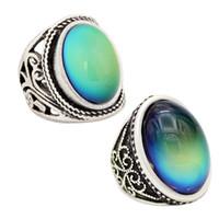 2adet Başar Antika Gümüş Kaplama Mood Taş Yüzük Duygu Değişim Yüzük Takı Seti 12 Renkler hissetmek
