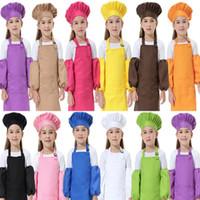 Adorável 3 pçs / set Crianças Cintos De Cozinha 12 Cores Crianças Aventais com SleeveChef Chapéus para Pintura De Cozimento De Cozimento