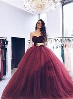 Robes De Quinceanera Sexy Bordeaux Sweetheart Robes De Quinceanera Top Robe De Bal Perles Robe De Bal Doux 16 Robes
