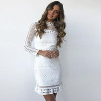 Vintage hollow out lace dress women Elegant 3 4 sleeve midi ...