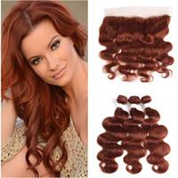 Reddish Brown Peruwiańskie Ludzkie Włosy Wiązki Wiązki Z Koronką Frontal Closure 13x4 Ciało Wave # 33 Dark Auburn Ludzki Włosy Uwagi Przedłużania