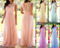 Spitze Chiffon Lange Brautjungfer Kleider Flow Chiffon Sommer Rose Blush Brautjungfer Formale Prom Günstige Party Brautjungfer Kleider