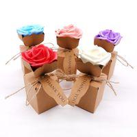Bomboniera creativa Kraft fai da te in carta regalo borsa con fiore rosa confezione di cioccolato festa nuziale decorazione bomboniere