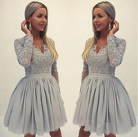 Elegant A Line Homecoming Dresses V Neck Long Sleeves Short ...