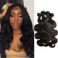Bella Hair® Günstigste 4pcs / Lot Körperwelle Brasilianische Haarverlängerungen 7A Menschenhaar, das weiches Spenderhaar spinnt, bündelt US freies Verschiffen