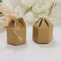 도매 50 PC / Lot DIY 7 * 4 * 9CM 크래프트 골 판지 선물 상자 6 각형 카톤 갈색 사탕 상자 파티 용품