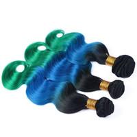 Günstige Peruanische Menschenhaar # 1B / Blau / Grün Ombre Weave Extensions 3 Stücke Körperwelle Schwarz Blau und Grün Drei Ton Ombre Reine Haarbündel