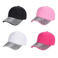 Fashion Rhinestones Studded Baseball Caps Adjustable Visor P...