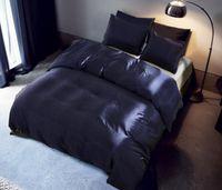 Juego de ropa de cama de seda de imitación 3 piezas Funda nórdica de satén Juego de color sólido Simple Ropa de cama hermosa con funda de almohada