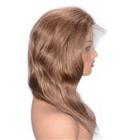 Natürliche Welle Spitze Frontperücken vorgepftet Natürliche Haarringe # 8 Brasilianisches menschliches Haar Schweizer Spitze Frontal Perücke