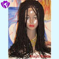 Muhteşem Tam el örgülü 360 dantel Frontal kutu örgülü peruk renk siyah / koyu kahverengi / bordo sentetik dantel ön peruk siyah kadınlar için