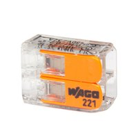Cable eléctrico 100pcs WAGO conector de 2 vías reutilizable original WAGO 221-413 Terminales transparentes Wire